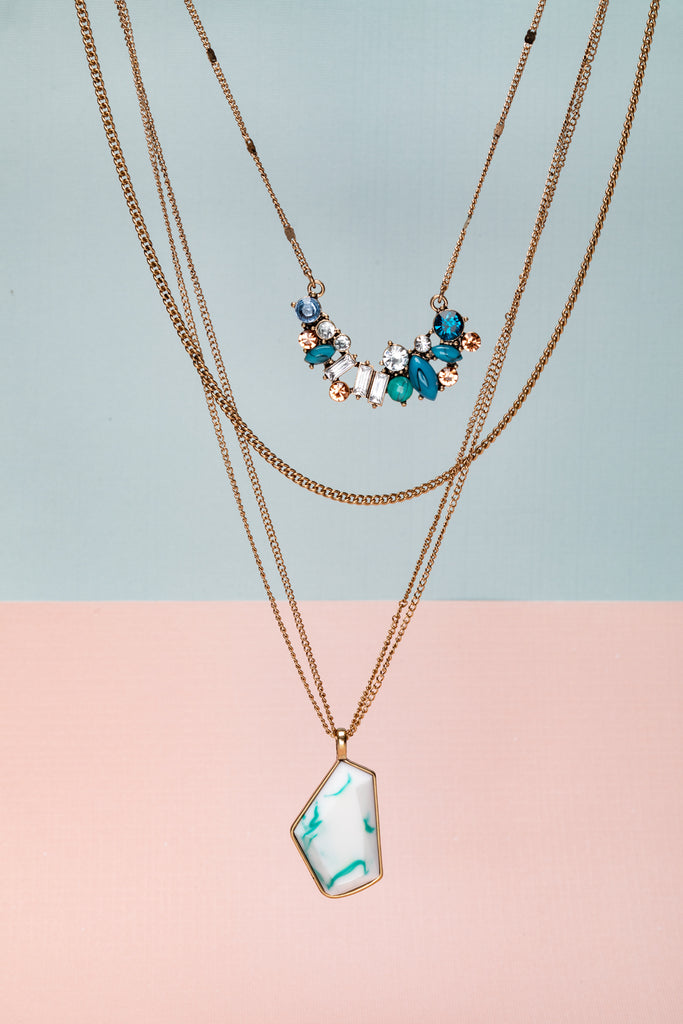 Goldtone Layered Necklace with Blue Crystal Clusters & White Geometric Pendant - Don