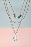 Goldtone Layered Necklace with Blue Crystal Clusters & White Geometric Pendant - Don't AsK