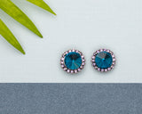 Blue & Crystal Halo Stud Earrings - Don't AsK