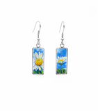 Blue & Daisy Rectangular Drop Earrings - Don't AsK