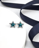 Bermuda Blue Swarovski Crystal Star Stud Earrings (par Callura)