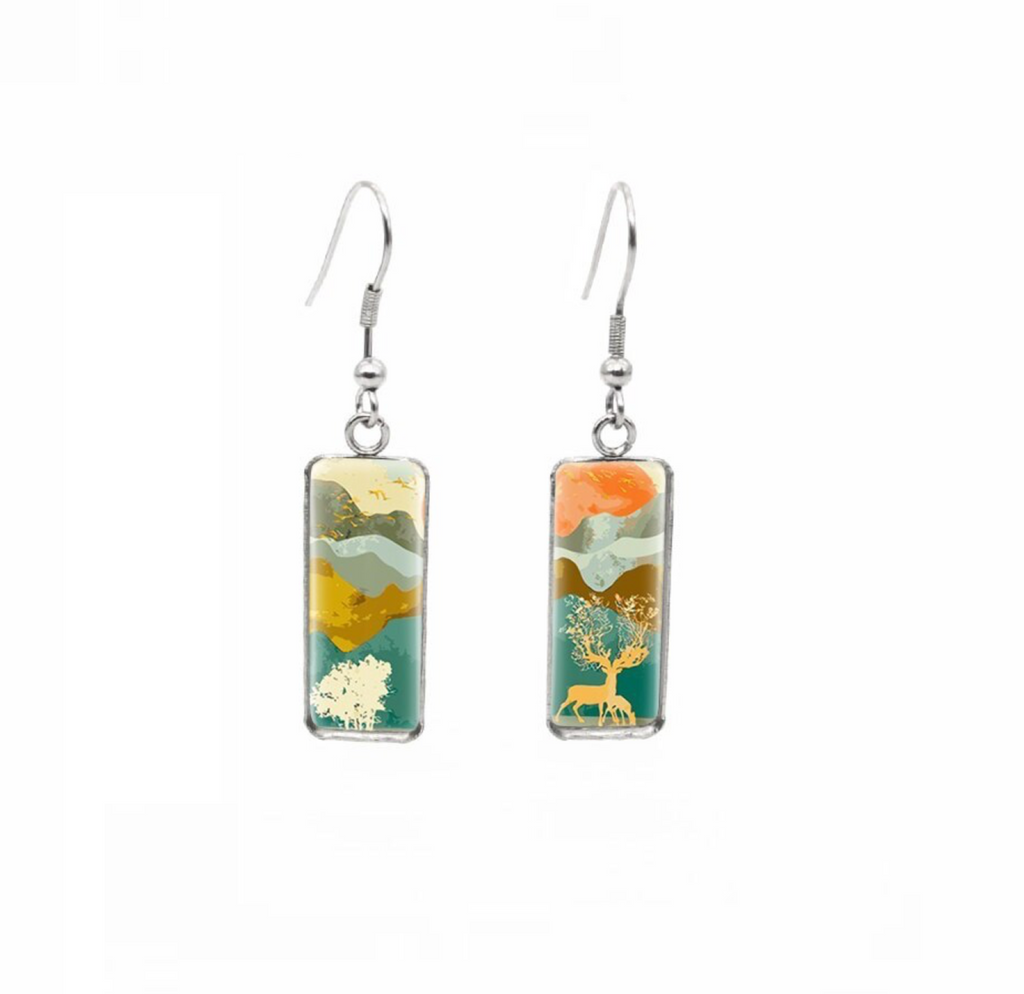 Multi Colored Landscape Rectangular Drop Earrings - Don