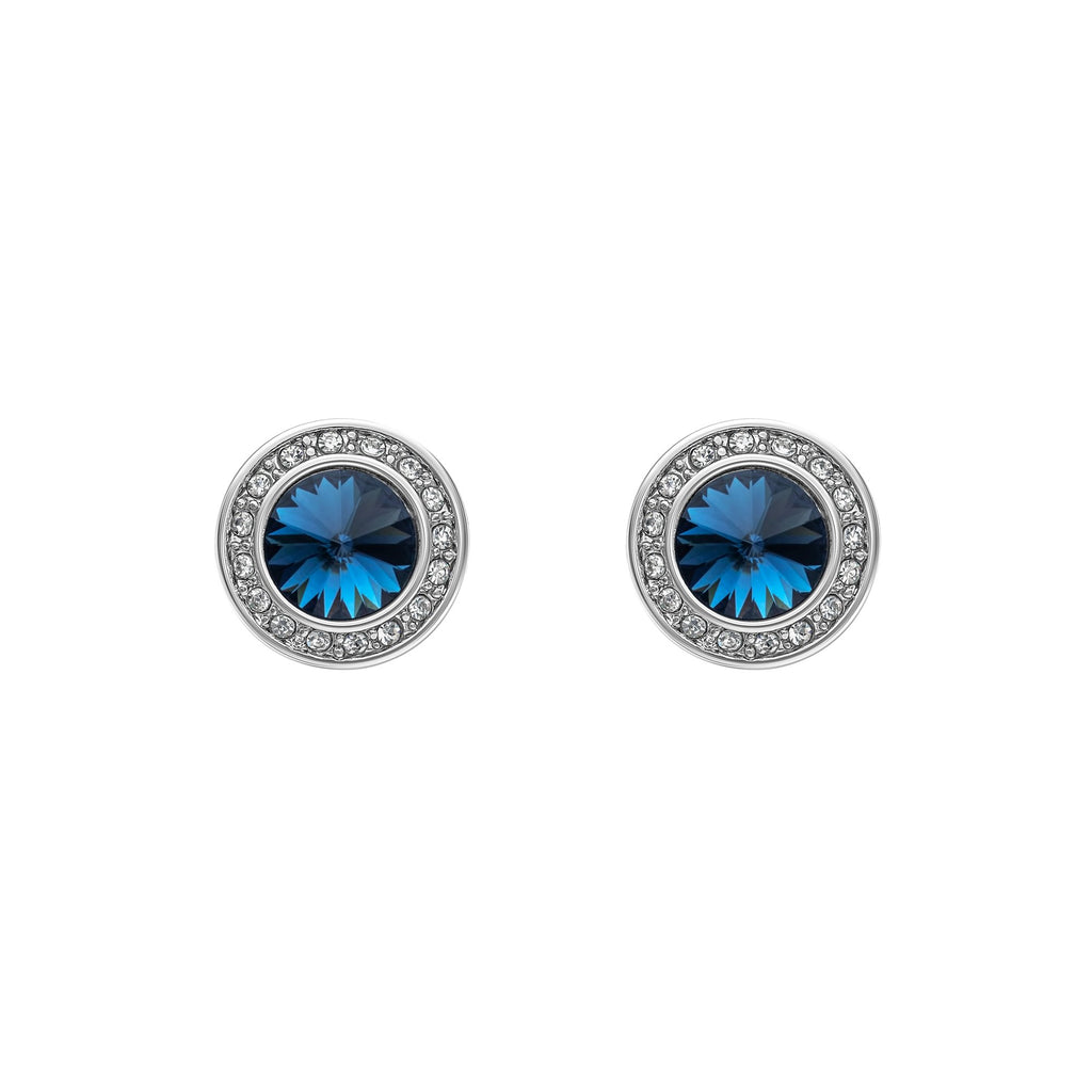 Silvertone & Montana Swarovski Crystal Halo Stud Earrings (par Callura)