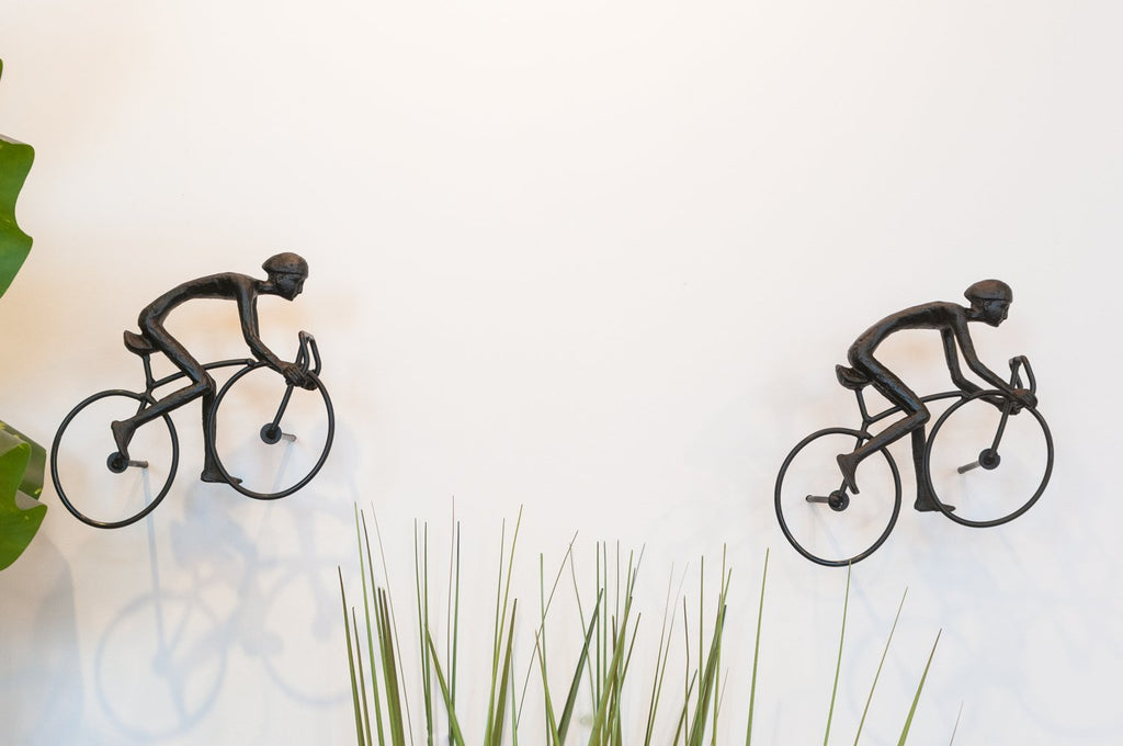 2 piece 3D Sculpture Bicycle Wall Art Gift For Home Decor Interior Design UNIQUE AND AMAZING floating Man Black