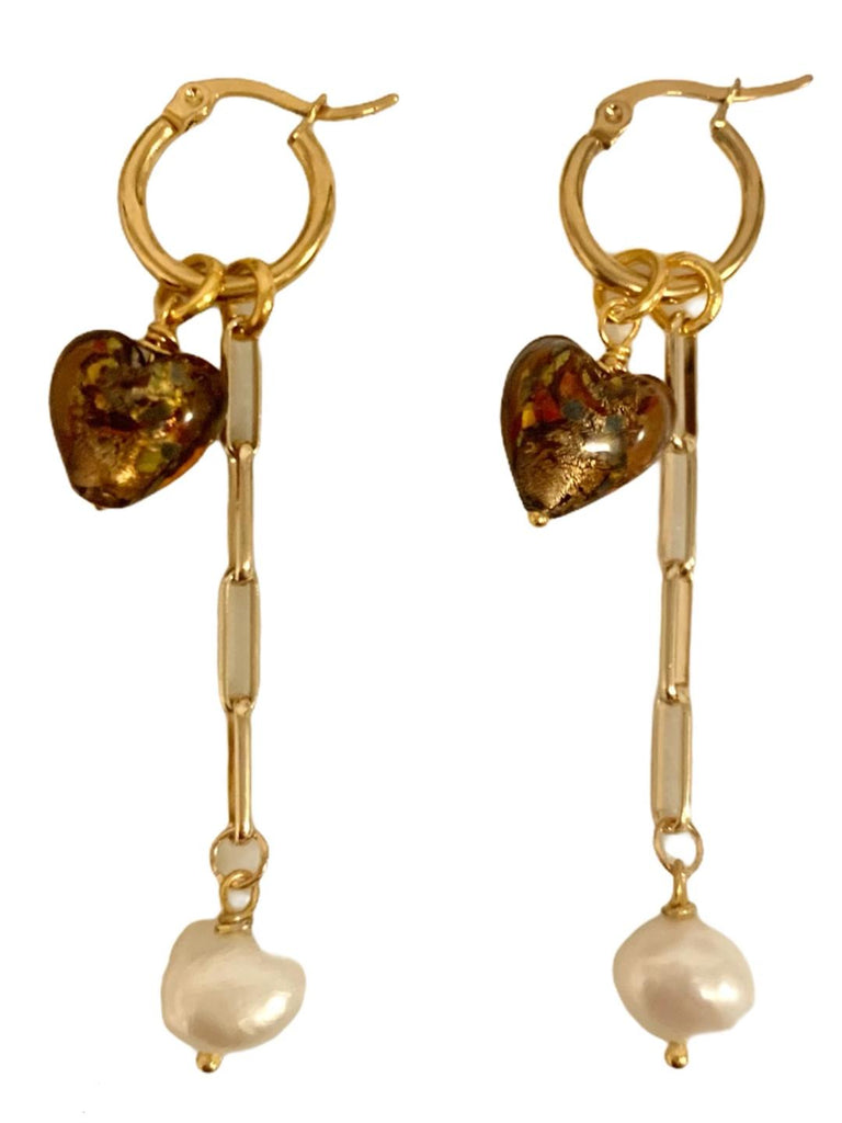 DOLCE MURANO COEUR BRUN BOUCLES D