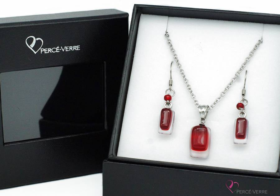 par Percé-VerreEnsemble Bijoux Collection Mini, rouge