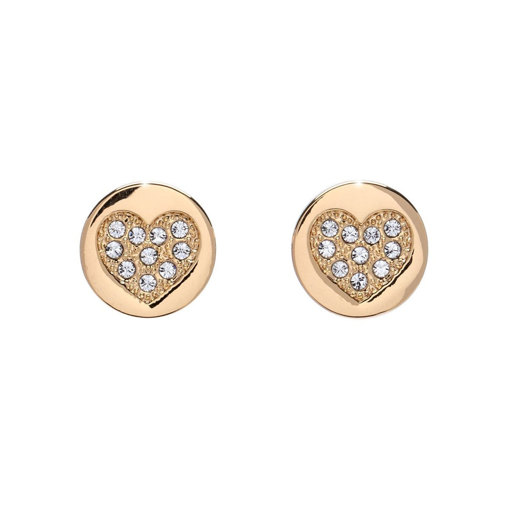 Heart pave stud earrings with Swarovski crystals (par Callura)