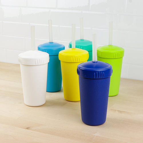 10 oz Straw Cup Set w/ NEW Translucent Silicone Straws