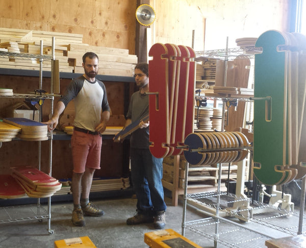 In our first wood shop in Olympia, brothers Kieran and Sean in Bilderhoos production mode