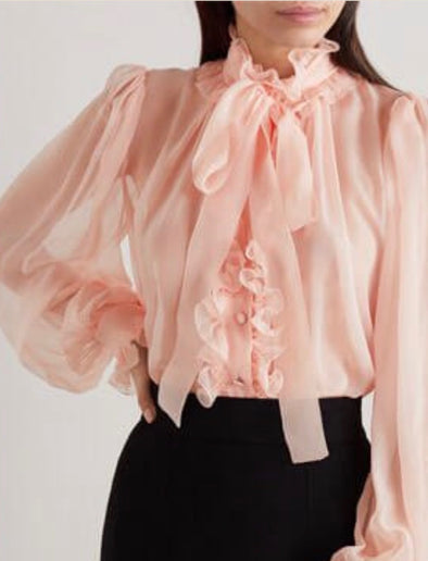 Dolce Gabbana Blush Pink Sheer Ruffle Blouse with Pussy Bow