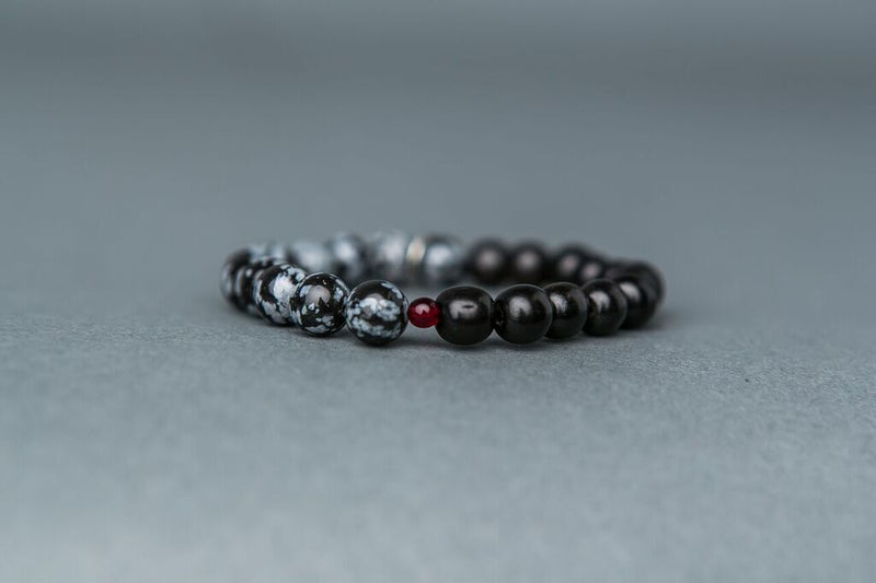 Snowflake Obsidian Stone Stack - Balance & Serenity