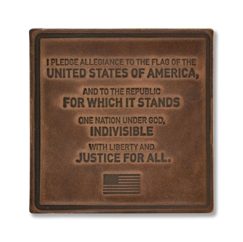 Pledge of Allegiance Leather Coaster Set