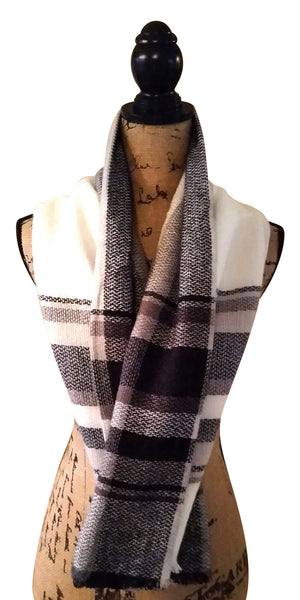 Soft & Sophisticated Black & White Tartan Plaid Blanket Scarf