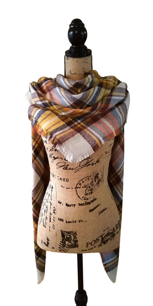 Harvest Gold Tartan Plaid Blanket Scarf Draped Over Shoulders