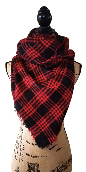 Bandit Punk Rock Red & Black Tartan Plaid Blanket Scarf