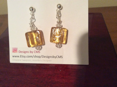 Hand Made Foiled Glass Earrings