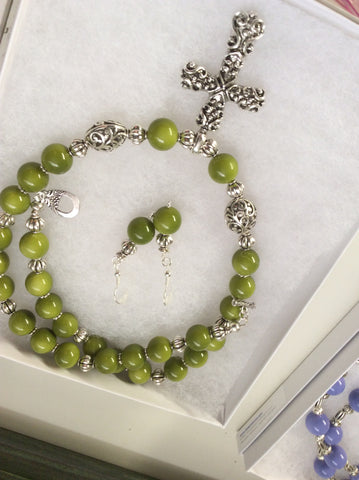 SOLD Beautiful Olive Green Glass Bead Necklace within Cross Pendant & Earrings