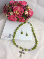 Olive Glossy Glass Bead & Silver Cross Necklace Set