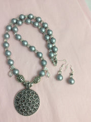 SOLD - Pearlized Grey Glass Bead Floral Pendent Set