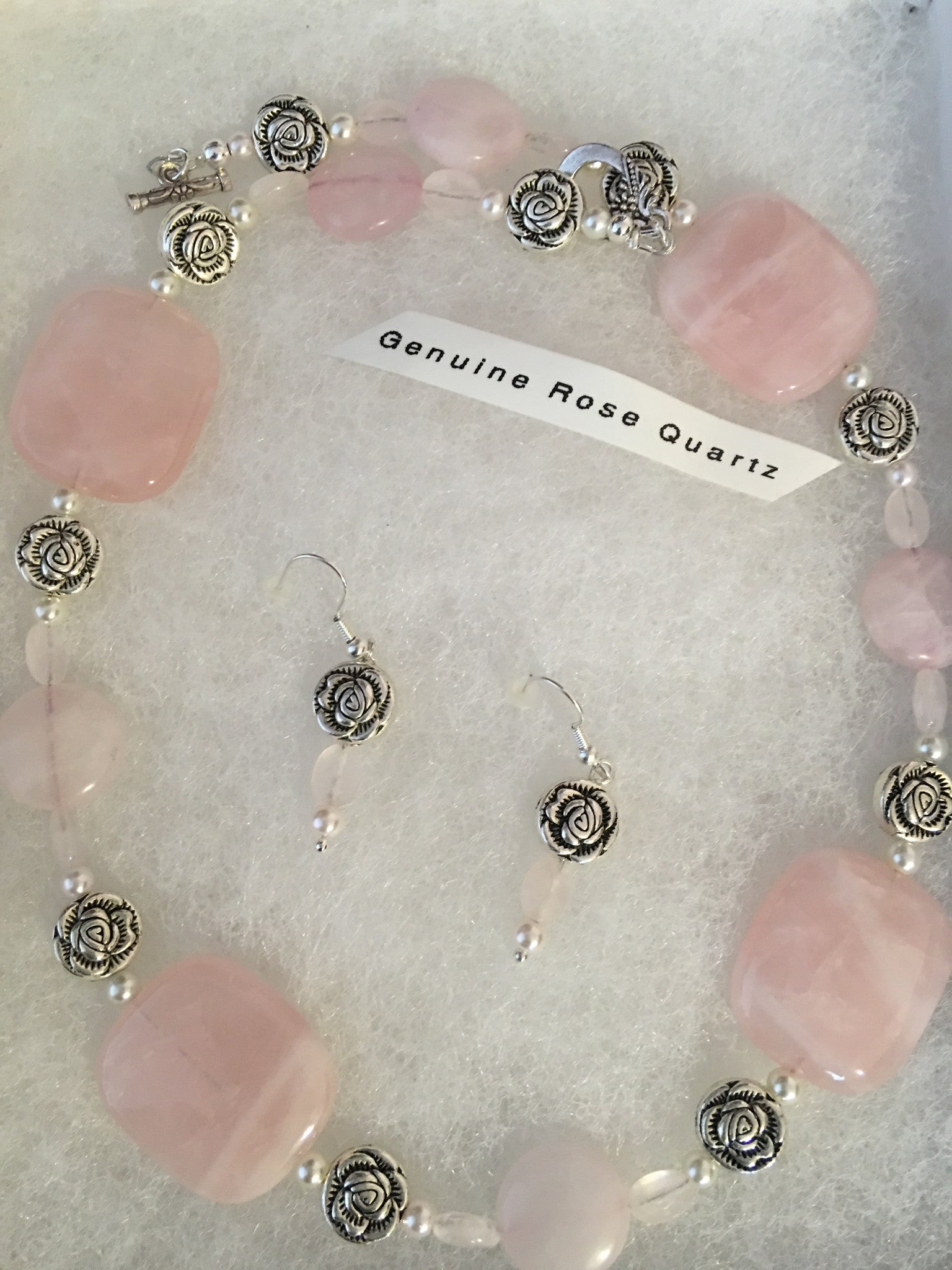Genuine Rose Quartz Necklace & Earring Set.