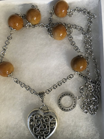 Genuine Caramel Jade with Antiqued Heart Pendant Necklace.