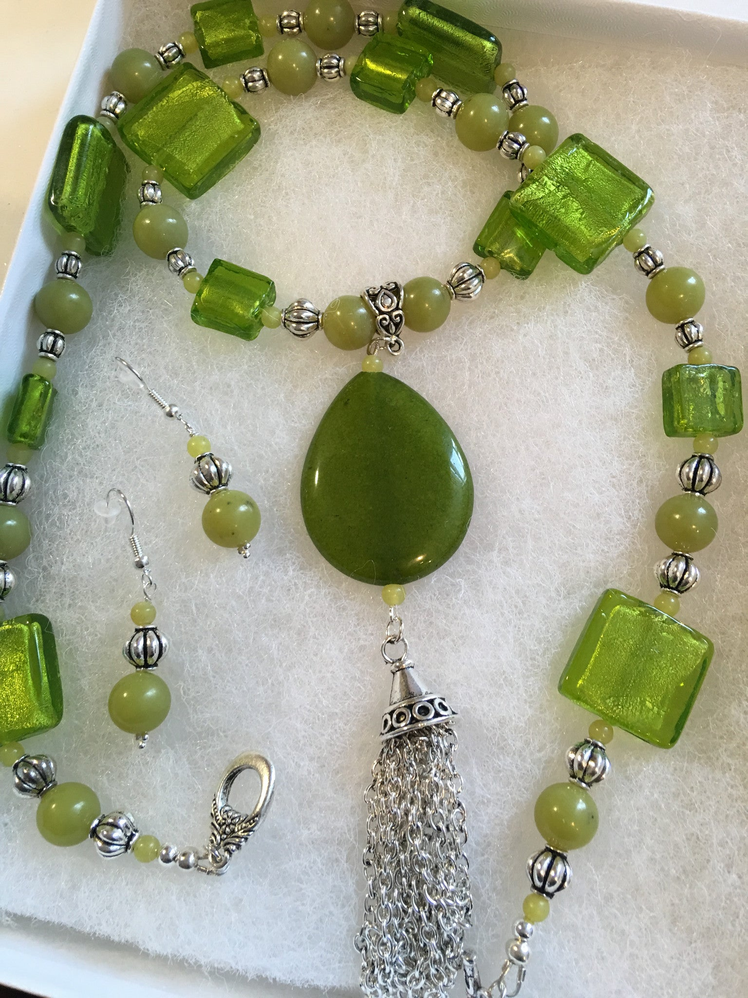 Genuine Jade Pendant with Jade Beads & Hand Made Foil Faced Glass Beads.