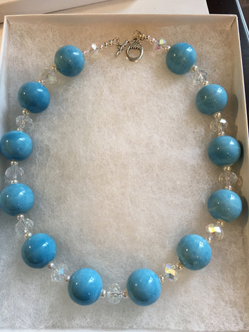 Genuine Blue Ceramic Beads with Genuine Crystals Choker