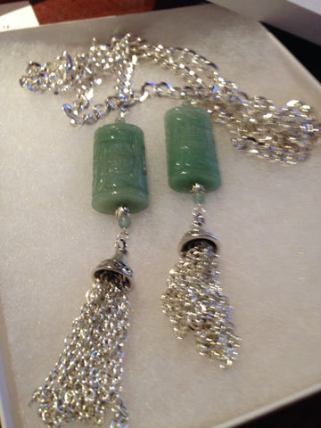 Genuine Carved Aventurine Pendants on Lariat Cahin with Tassels