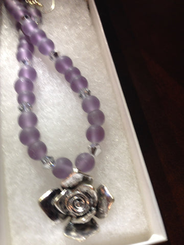 Lavender Frosted Glass Beads & Genuine Crystal Necklace & Earring Set