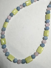 Genuine Blue, Lemon & Pink Jade Choker