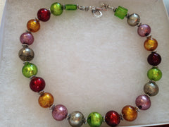 SOLD Glittering Foiled Faced Glass Bead Choker