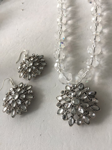 SOLD - Genuine Crystal Vintage Necklace & Earring Set