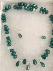 Genuine Clear & Green Crystals Necklace & Earring Set