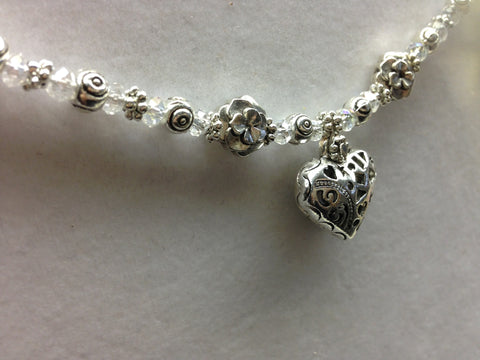 SOLD Genuine Austrian Crystal Heart Choker & Earrings