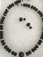 Faceted Jet Beads & Sparkling Spacers Necklace & Earring Set