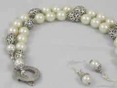 Pearl Necklace and Earring Set