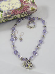Lavender Choker Pendant Necklace & Pierced Earring Set