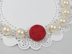 "Pearls, Crystals & Cinnabar Necklace ""One of a Kind"""