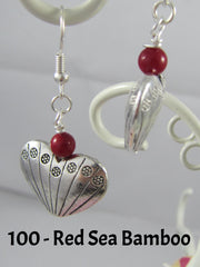 Silver & Red Pierced Earrings