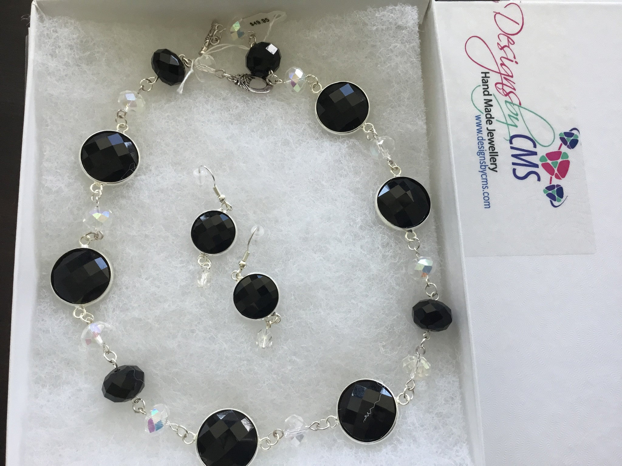 Genuine Cyrstals & Faceted Jet Necklace & Earring Set