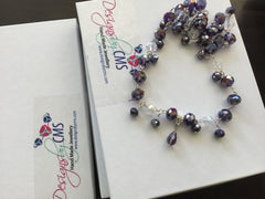 Iridescent Lavender Crystal Necklace & Earring Set