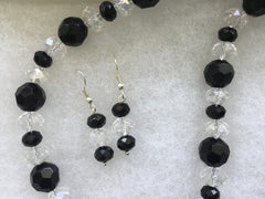 Genuine Crystal & Faceted Beads Necklace & Earrings Set ONE OF A KIND