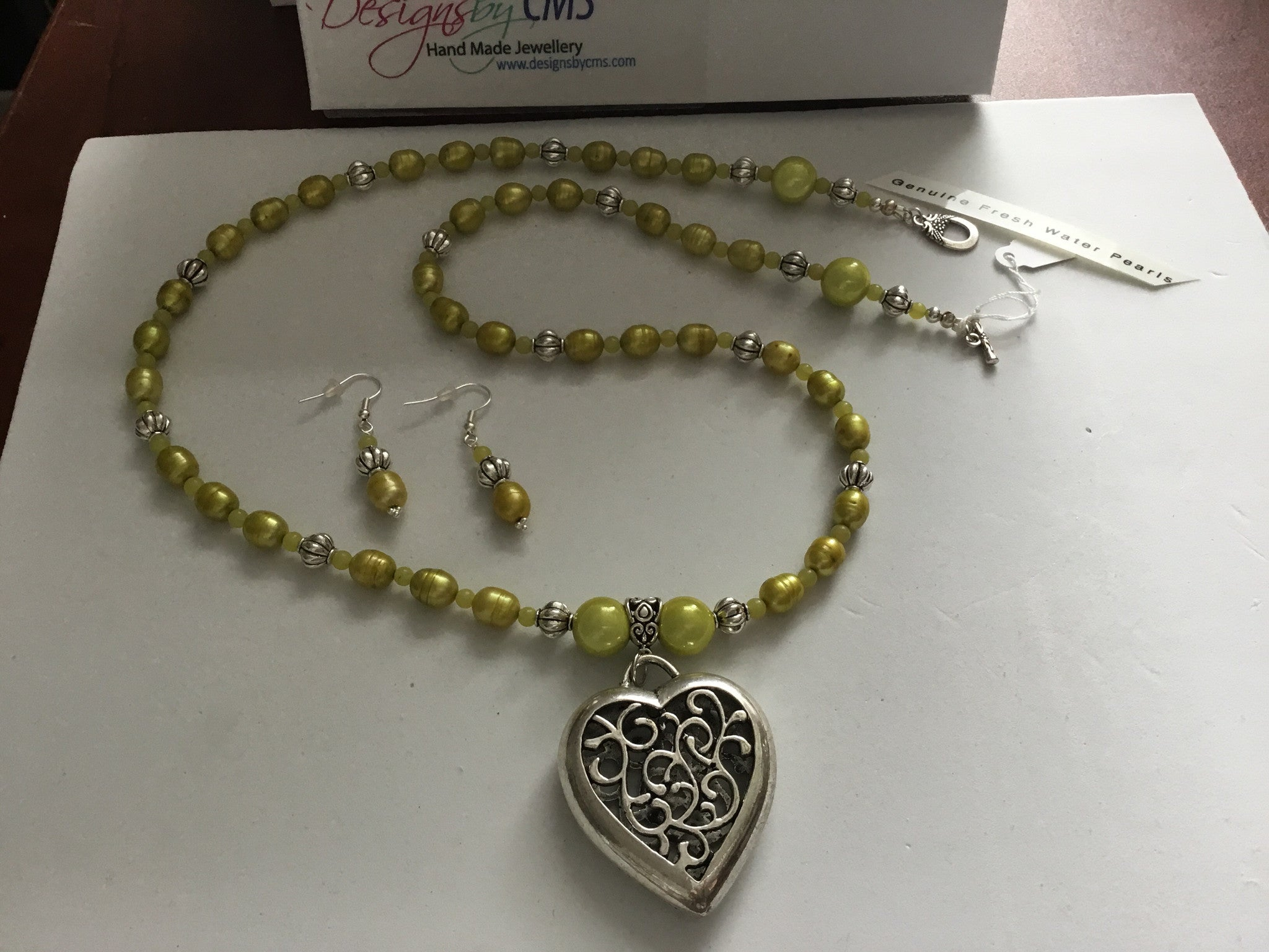 Genuine Fresh Water Pearls & Jade Seed Bead Heart Pendant Necklace & Earring Set