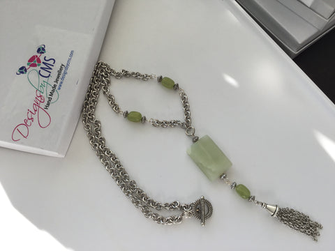 SOLD - Genuine Jade Tasseled Necklace