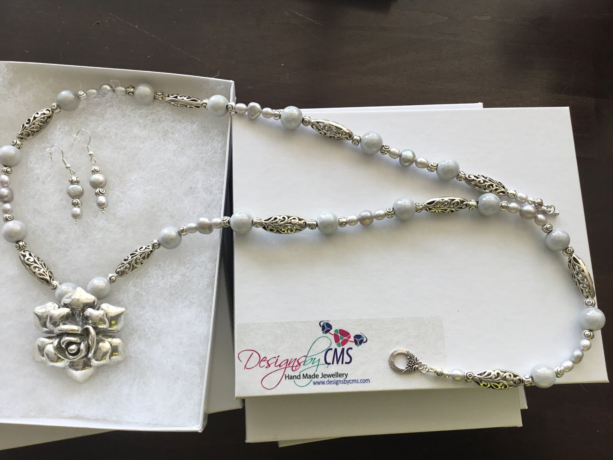 SOLD Fresh Water Pearl & Frosted Glass Bead Necklace & Earring Set