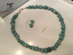 Genuine Blue Jade Necklace & Earring Set