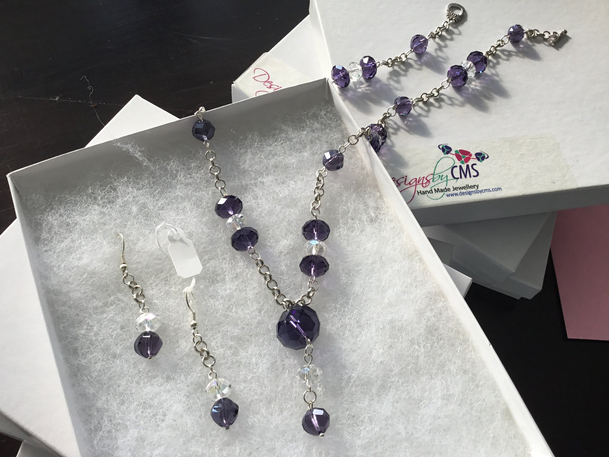 Purple & Clear Crystal Necklace & Earring Set