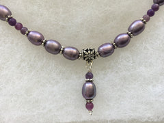 SOLD - Delicate Lavender Fresh Water Pearl Necklace & Earring Set