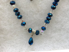 Genuine Clear & Irridescent Blue Necklace & Earring Set