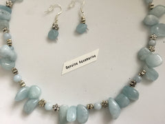 SOLD Genuine Aquamarine Necklace & Earring Set